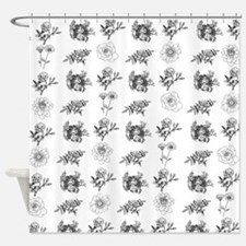 Black and White Floral Toile Shower Curtain