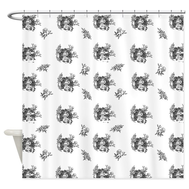 Black And White Toile Rug: Black And White Floral Toile Shower Curtain By