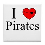 I heart Pirates Tile Coaster