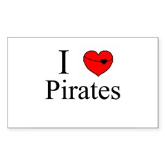 I heart Pirates Rectangle Decal
