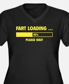 Fart Loading Women's Plus Size V-Neck Dark T-Shirt
