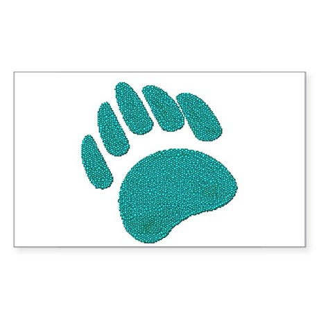 DIMPLED TEAL BEAR PAW Rectangle Sticker