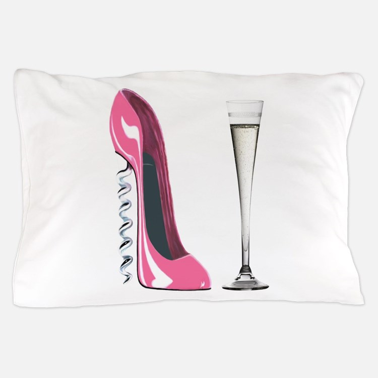 Pink Corkscrew Stiletto and Champagne Flute Pillow