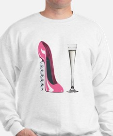 Pink Corkscrew Stiletto and Champagne Flute Sweats