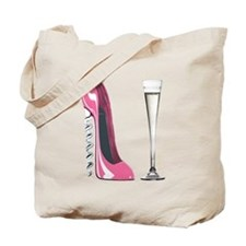 Pink Corkscrew Stiletto and Champagne Flute Tote B