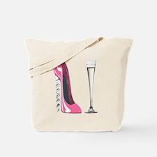 Pink Corkscrew Stiletto and Champagne Flute Tote B
