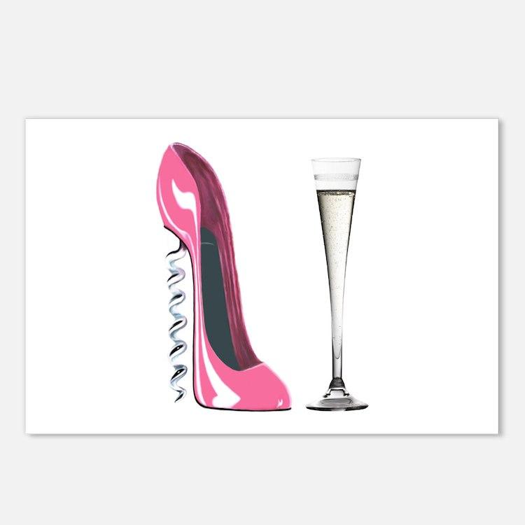 Pink Corkscrew Stiletto and Champagne Flute Postca