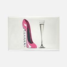 Pink Corkscrew Stiletto and Champagne Flute Rectan
