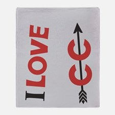 I Love Cross Country Running Throw Blanket