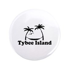 "Tybee Island GA - Palm Trees Design. 3.5"" Button"