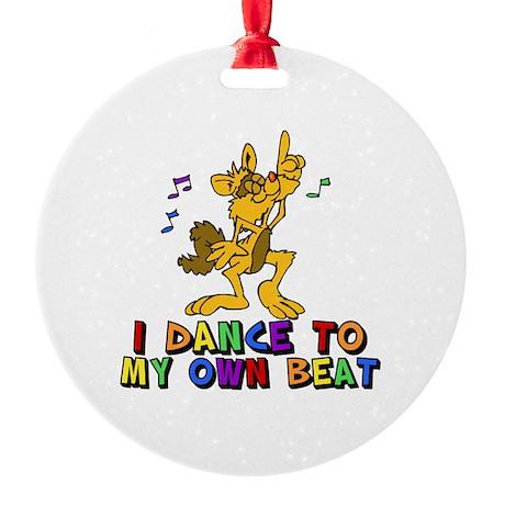 Dancing Cat Round Ornament