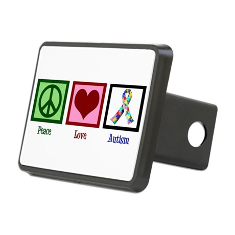 Peace Love Autism Rectangular Hitch Cover
