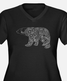 Celtic Polar Bear Women's Plus Size V-Neck Dark T-