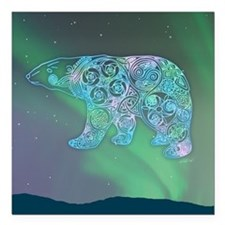 """Celtic Polar Bear Square Car Magnet 3"""" x 3"""""""