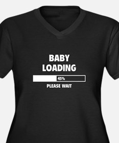 Baby Loading Women's Plus Size V-Neck Dark T-Shirt