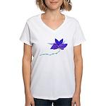 Purple Blue Flying Flower Women's V-Neck T-Shirt
