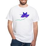 Purple Blue Flying Flower White T-Shirt