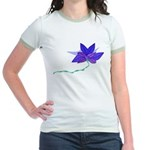 Purple Blue Flying Flower Jr. Ringer T-Shirt