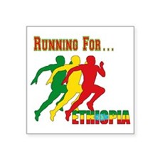 "Ethiopia Running Square Sticker 3"" x 3"""