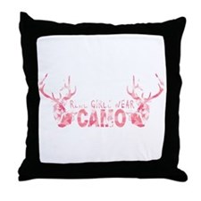 REAL GIRLS WEAR CAMO Throw Pillow