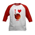I Love Mars Kids Baseball Jersey