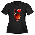 I Love Mars Women's Plus Size V-Neck Dark T-Shirt