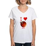 I Love Mars Women's V-Neck T-Shirt