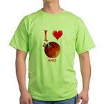 I Love Mars Green T-Shirt