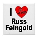 I Love Russ Feingold Tile Coaster