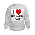 I Love Christopher Dodd (Front) Kids Sweatshirt