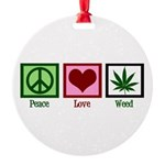 Peace Love Weed Round Ornament