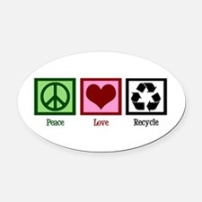 Peace Love Recycle Oval Car Magnet