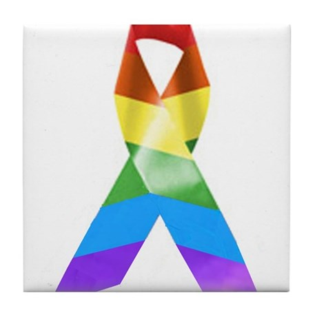 HIV Poz Pride Ribbon Tile Coaster