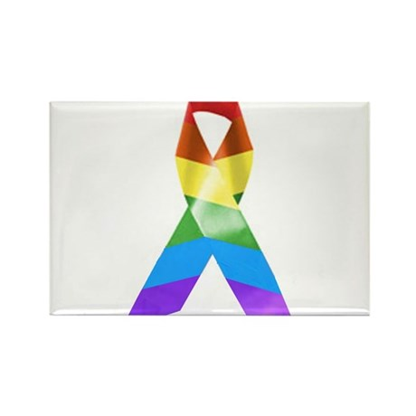 HIV Poz Pride Ribbon Rectangle Magnet