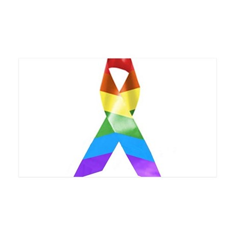 HIV Poz Pride Ribbon 35x21 Wall Decal