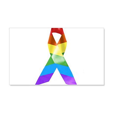HIV Poz Pride Ribbon 20x12 Wall Decal