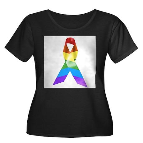 HIV Poz Pride Ribbon Women's Plus Size Scoop Neck