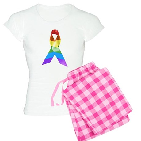 HIV Poz Pride Ribbon Women's Light Pajamas