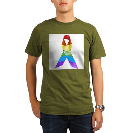 HIV Poz Pride Ribbon Organic Men's T-Shirt (dark)