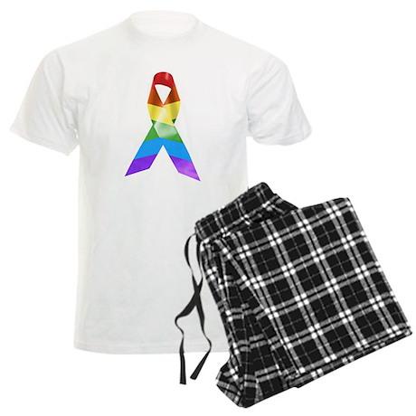 HIV Poz Pride Ribbon Men's Light Pajamas