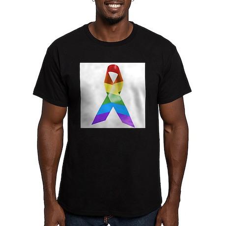 HIV Poz Pride Ribbon Men's Fitted T-Shirt (dark)