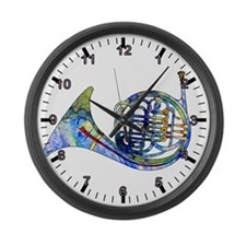 Wild French Horn Large Wall Clock