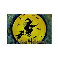 Scottie Witch Broom Rectangle Magnet