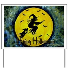 Halloween Scottie and Witch Yard Sign