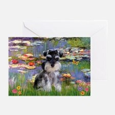 Lilies & Schnauzer pup (Nat) Greeting Cards (Packa
