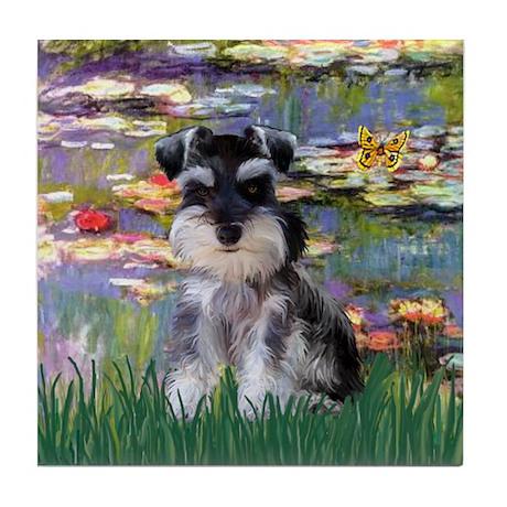 Lilies & Schnauzer pup (Nat) Tile Coaster