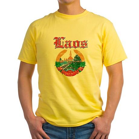 Laos Coat Of Arms Yellow T-Shirt