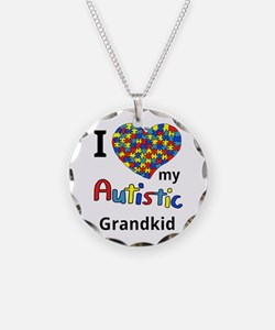 Autistic Grandkid Necklace Circle Charm