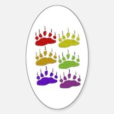 3 SETS OF RAINBOW BEAR PAWS Oval Decal