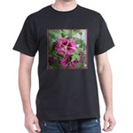 Purple Malva Cluster Black T-Shirt